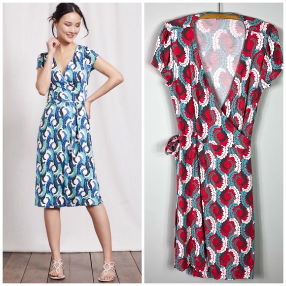 9672ee2c349e Boden Dresses & Skirts - Boden Summer Wrap Dress Feather Printed 10